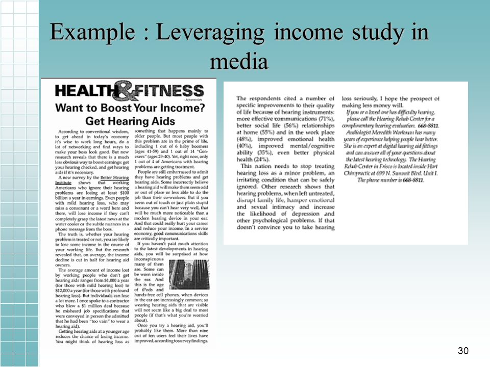 Example : Leveraging income study in media 30
