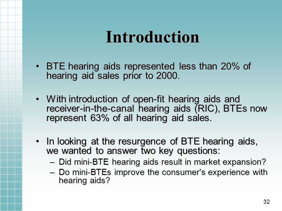 Introduction BTE hearing aids represented less than 20% of hearing aid sales prior to 2000.BTE hearing aids represented less than 20% of hearing aid s