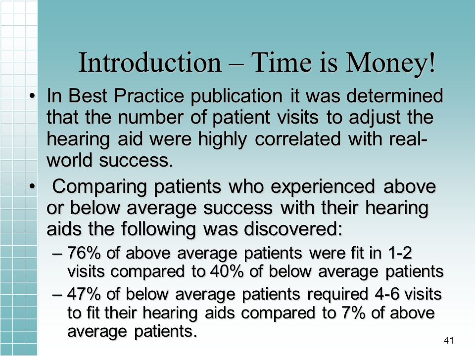 Introduction – Time is Money! In Best Practice publication it was determined that the number of patient visits to adjust the hearing aid were highly c