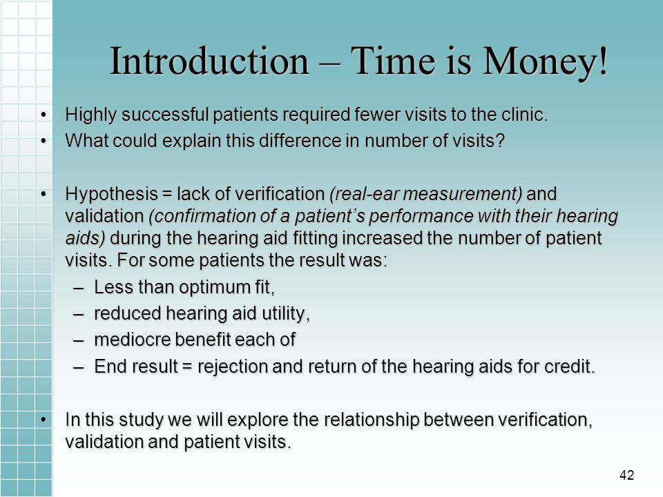Introduction – Time is Money! Highly successful patients required fewer visits to the clinic.Highly successful patients required fewer visits to the c