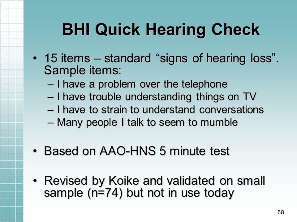 BHI Quick Hearing Check 15 items – standard signs of hearing loss.