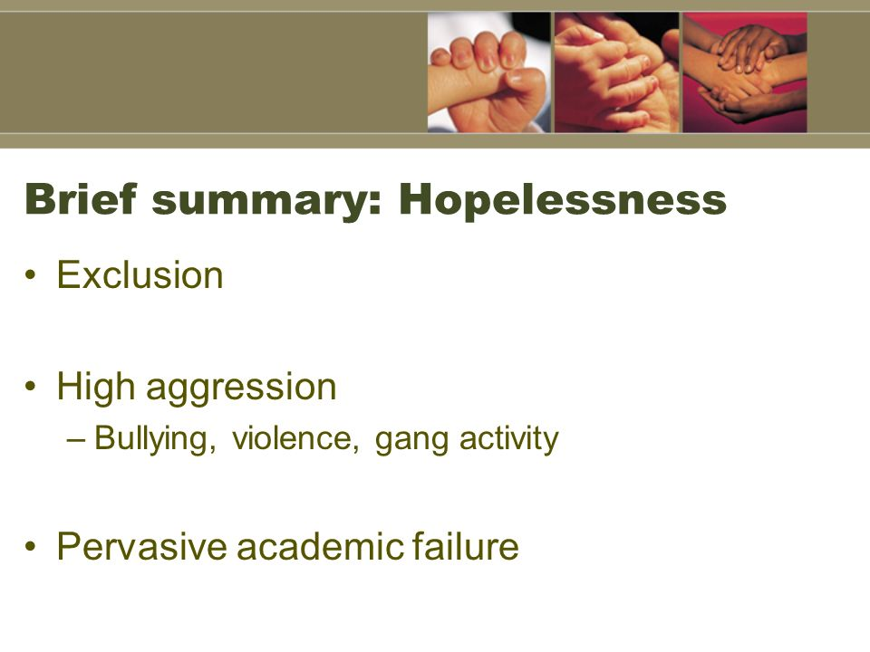Brief summary: Hopelessness Exclusion High aggression –Bullying, violence, gang activity Pervasive academic failure