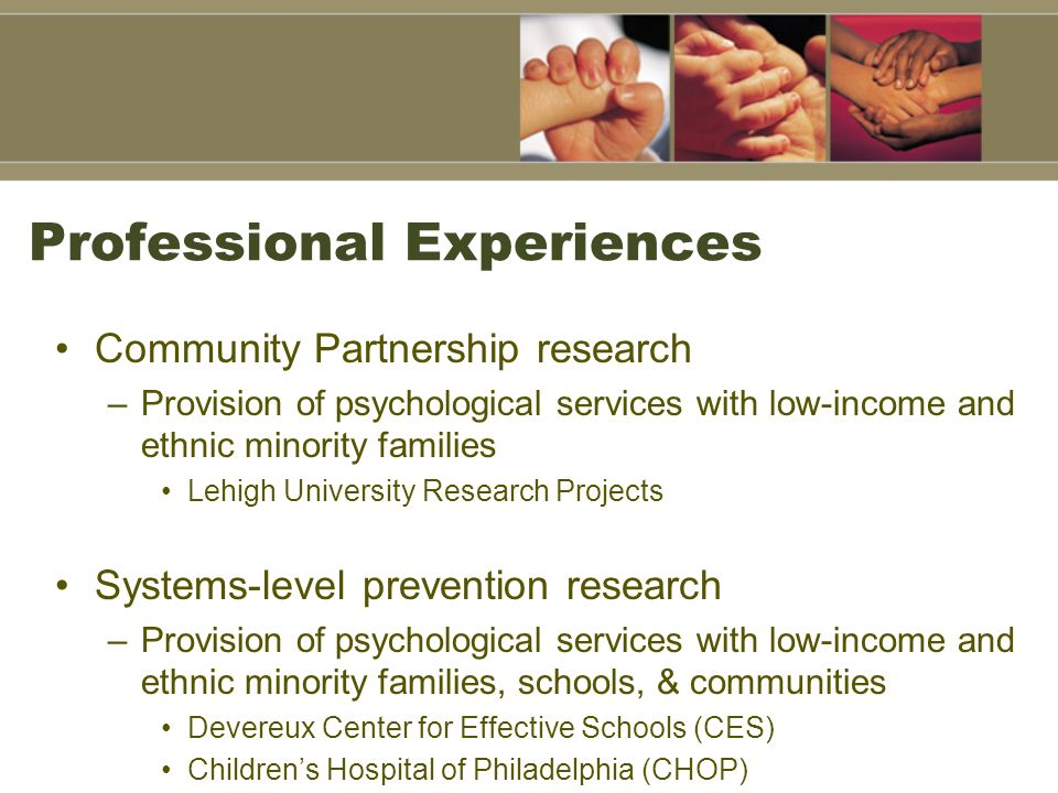 Professional Experiences Community Partnership research –Provision of psychological services with low-income and ethnic minority families Lehigh Unive