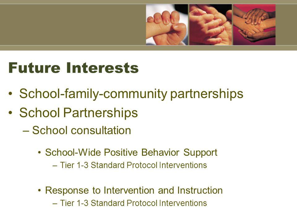 Future Interests School-family-community partnerships School Partnerships –School consultation School-Wide Positive Behavior Support –Tier 1-3 Standar