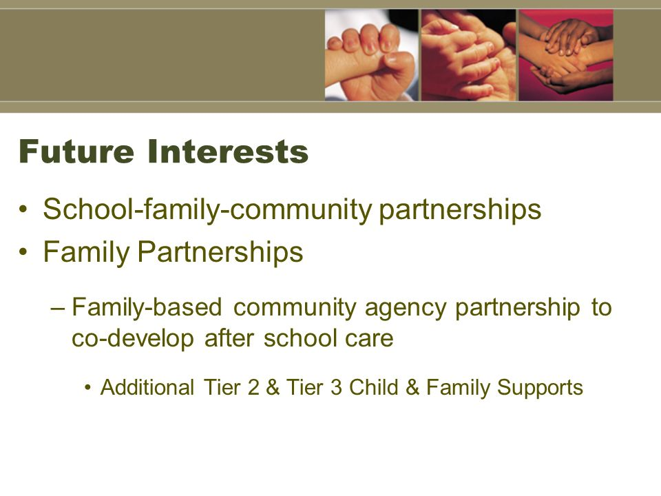 Future Interests School-family-community partnerships Family Partnerships –Family-based community agency partnership to co-develop after school care A