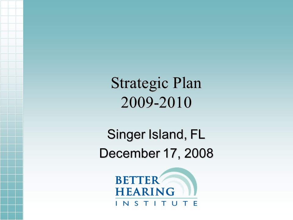 Strategic Plan 2009-2010 Singer Island, FL December 17, 2008