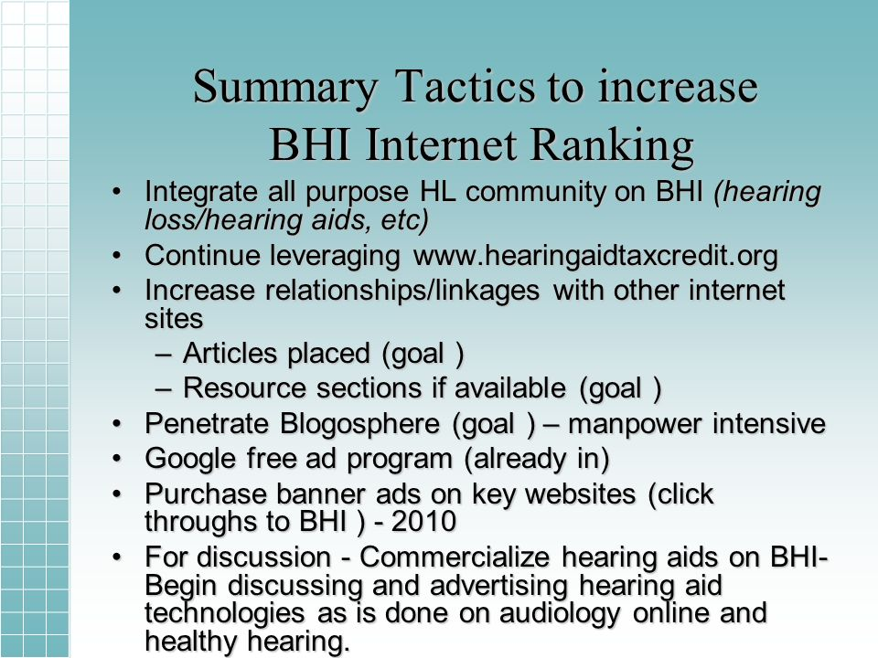Summary Tactics to increase BHI Internet Ranking Integrate all purpose HL community on BHI (hearing loss/hearing aids, etc)Integrate all purpose HL community on BHI (hearing loss/hearing aids, etc) Continue leveraging www.hearingaidtaxcredit.orgContinue leveraging www.hearingaidtaxcredit.org Increase relationships/linkages with other internet sitesIncrease relationships/linkages with other internet sites –Articles placed (goal ) –Resource sections if available (goal ) Penetrate Blogosphere (goal ) – manpower intensivePenetrate Blogosphere (goal ) – manpower intensive Google free ad program (already in)Google free ad program (already in) Purchase banner ads on key websites (click throughs to BHI ) - 2010Purchase banner ads on key websites (click throughs to BHI ) - 2010 For discussion - Commercialize hearing aids on BHI- Begin discussing and advertising hearing aid technologies as is done on audiology online and healthy hearing.For discussion - Commercialize hearing aids on BHI- Begin discussing and advertising hearing aid technologies as is done on audiology online and healthy hearing.