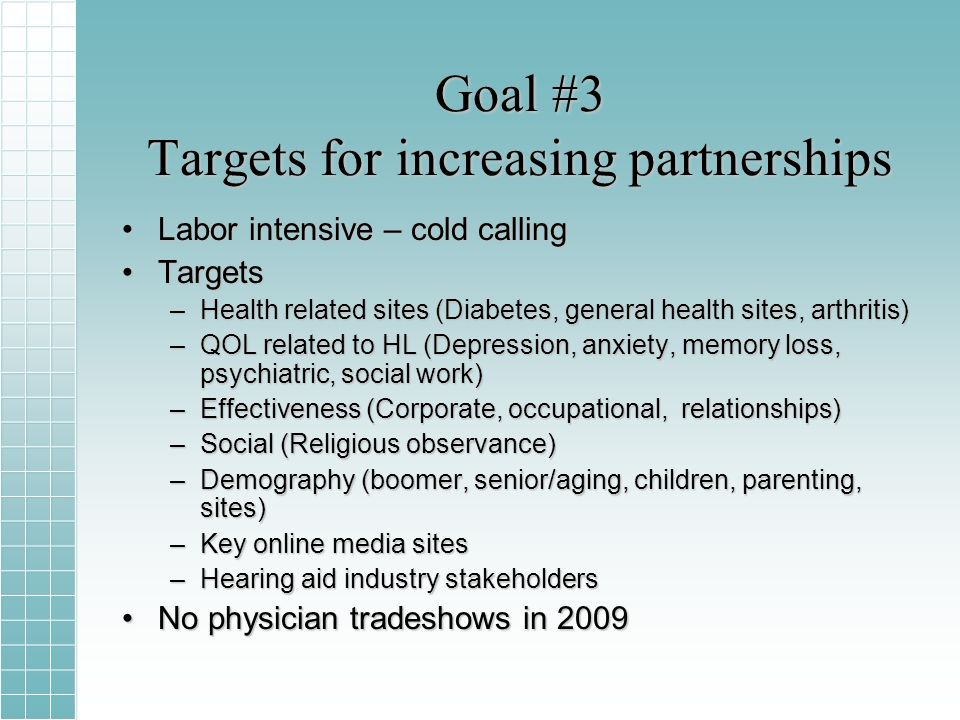 Goal #3 Targets for increasing partnerships Labor intensive – cold callingLabor intensive – cold calling TargetsTargets –Health related sites (Diabetes, general health sites, arthritis) –QOL related to HL (Depression, anxiety, memory loss, psychiatric, social work) –Effectiveness (Corporate, occupational, relationships) –Social (Religious observance) –Demography (boomer, senior/aging, children, parenting, sites) –Key online media sites –Hearing aid industry stakeholders No physician tradeshows in 2009No physician tradeshows in 2009