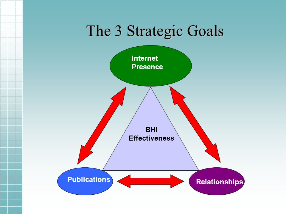 The 3 Strategic Goals BHI Effectiveness Internet Presence Publications Relationships