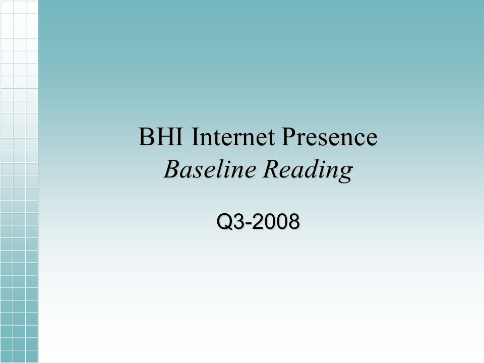BHI Internet Presence Baseline Reading Q3-2008