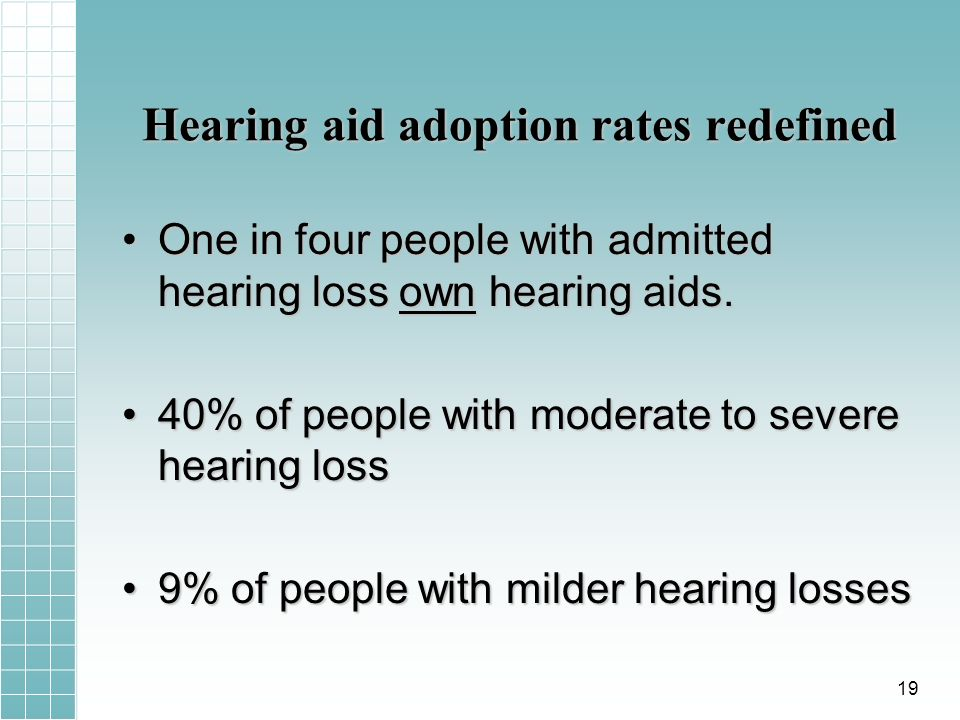 Hearing aid adoption rates redefined One in four people with admitted hearing loss own hearing aids.One in four people with admitted hearing loss own hearing aids.