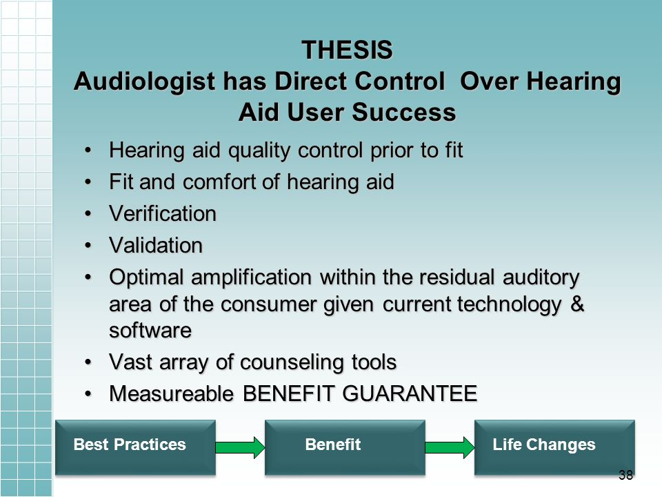 THESIS Audiologist has Direct Control Over Hearing Aid User Success Hearing aid quality control prior to fitHearing aid quality control prior to fit Fit and comfort of hearing aidFit and comfort of hearing aid VerificationVerification ValidationValidation Optimal amplification within the residual auditory area of the consumer given current technology & softwareOptimal amplification within the residual auditory area of the consumer given current technology & software Vast array of counseling toolsVast array of counseling tools Measureable BENEFIT GUARANTEEMeasureable BENEFIT GUARANTEE Best PracticesBenefitLife Changes 38