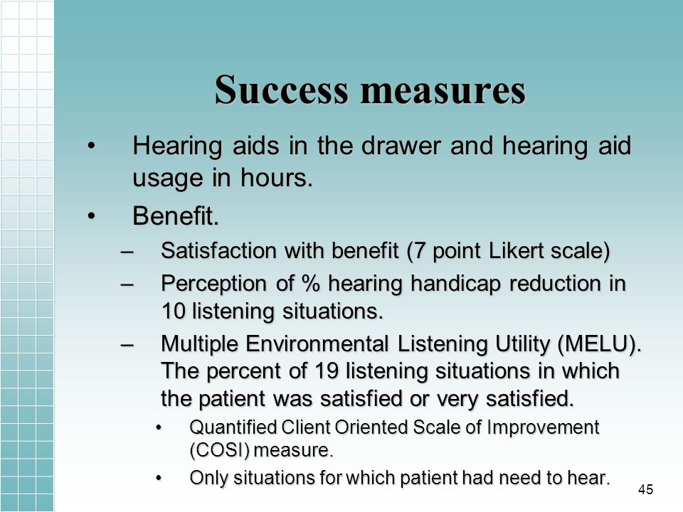 Success measures Hearing aids in the drawer and hearing aid usage in hours.Hearing aids in the drawer and hearing aid usage in hours.
