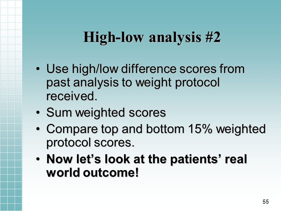 High-low analysis #2 Use high/low difference scores from past analysis to weight protocol received.Use high/low difference scores from past analysis to weight protocol received.