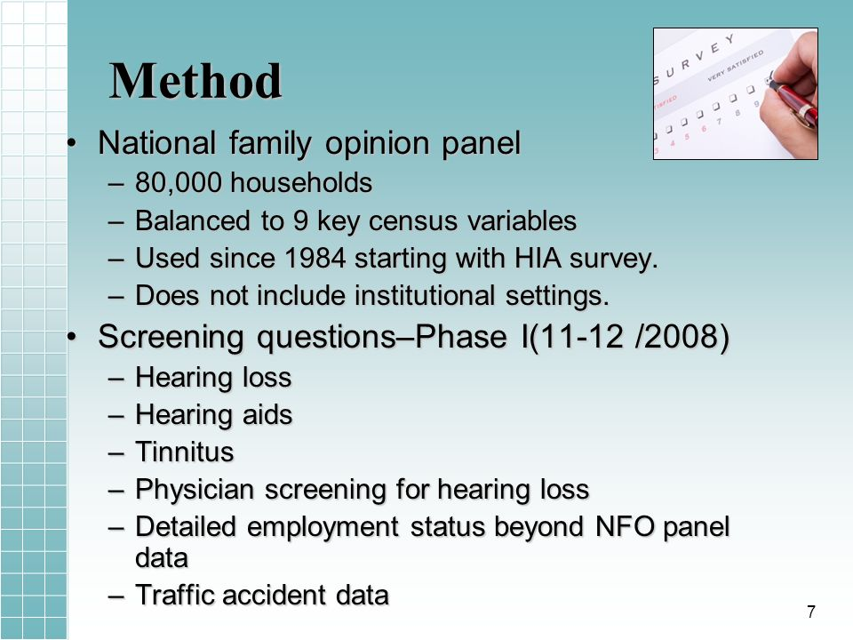 Method National family opinion panelNational family opinion panel –80,000 households –Balanced to 9 key census variables –Used since 1984 starting with HIA survey.