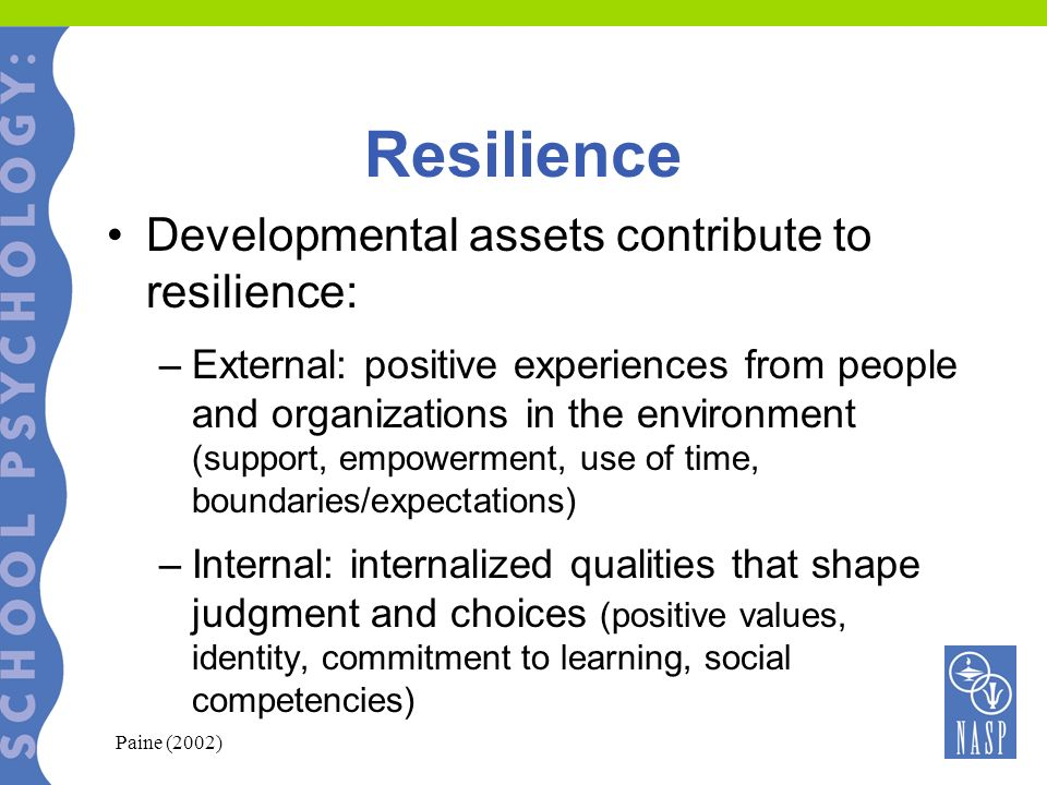 Building Resilience in Schools: System-Wide Create schools and classrooms that promote: –Connectedness –Security –Personal Value –Competency Incorporate resilience skill building into the school curriculum and teacher strategies