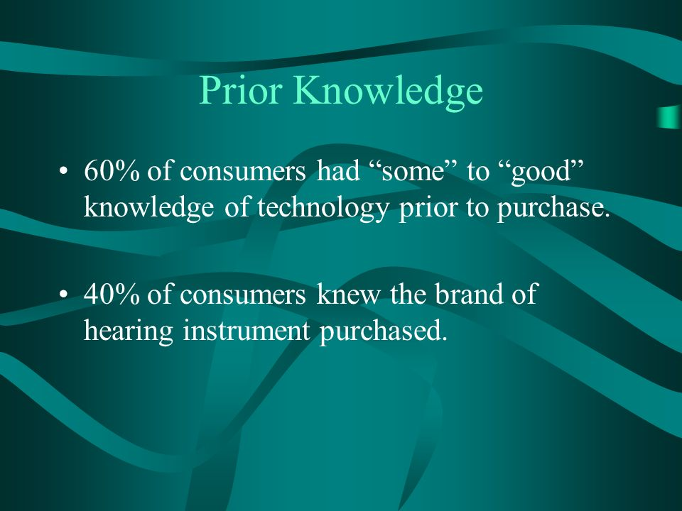 Prior Knowledge 60% of consumers had some to good knowledge of technology prior to purchase.