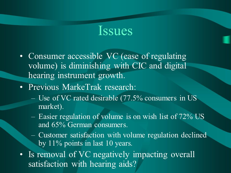 Issues Consumer accessible VC (ease of regulating volume) is diminishing with CIC and digital hearing instrument growth.
