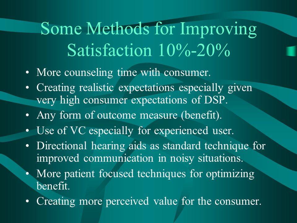 Some Methods for Improving Satisfaction 10%-20% More counseling time with consumer.