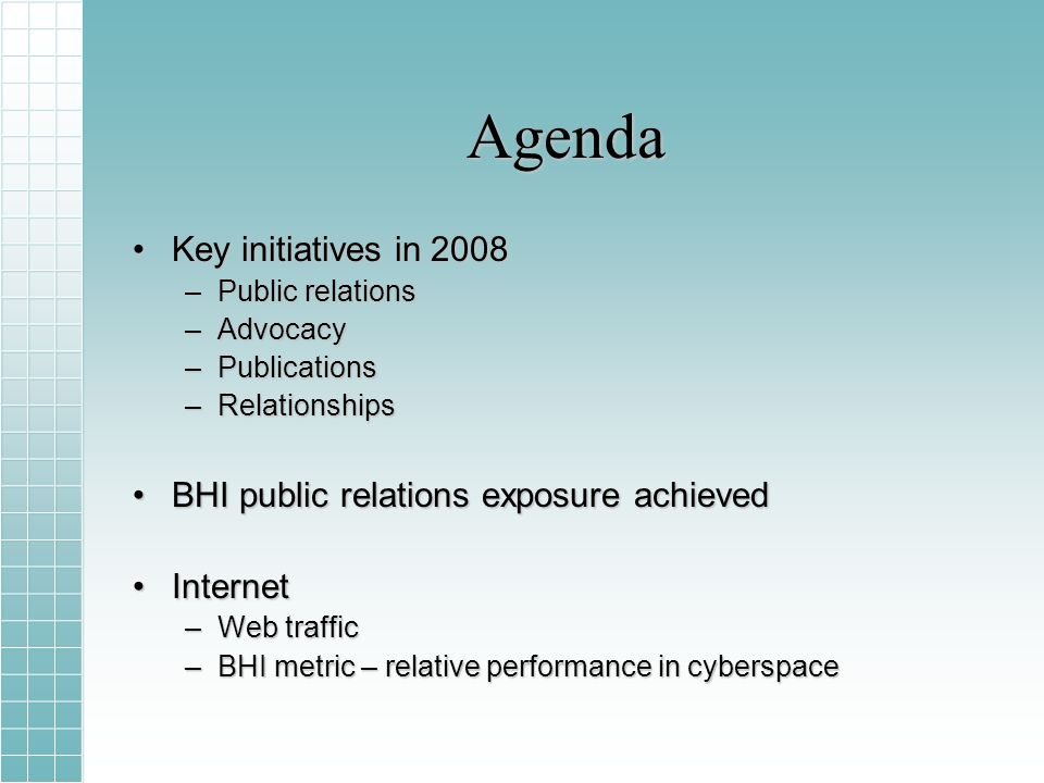 Agenda Key initiatives in 2008Key initiatives in 2008 –Public relations –Advocacy –Publications –Relationships BHI public relations exposure achievedBHI public relations exposure achieved InternetInternet –Web traffic –BHI metric – relative performance in cyberspace