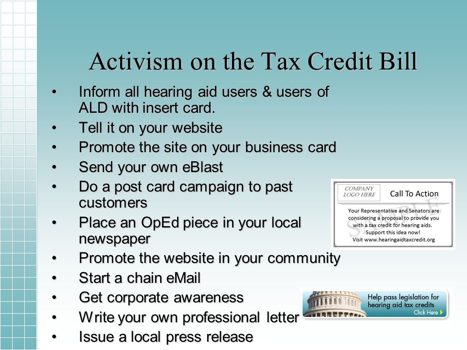 Tax Credit Achievement (8 mo) Spurred co-sponsors with more than 22,000 lettersSpurred co-sponsors with more than 22,000 letters –13 Senators –112 Members of Congress Easy vehicle for making voice heard on the Hill.Easy vehicle for making voice heard on the Hill.