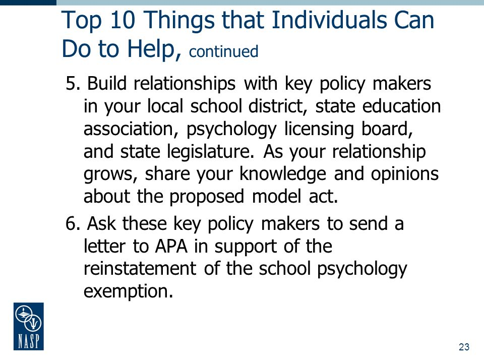 23 Top 10 Things that Individuals Can Do to Help, continued 5.