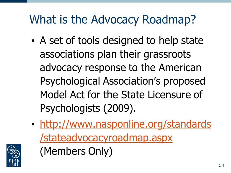 34 What is the Advocacy Roadmap.