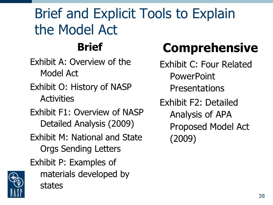 36 Brief and Explicit Tools to Explain the Model Act Brief Exhibit A: Overview of the Model Act Exhibit O: History of NASP Activities Exhibit F1: Overview of NASP Detailed Analysis (2009) Exhibit M: National and State Orgs Sending Letters Exhibit P: Examples of materials developed by states Comprehensive Exhibit C: Four Related PowerPoint Presentations Exhibit F2: Detailed Analysis of APA Proposed Model Act (2009)