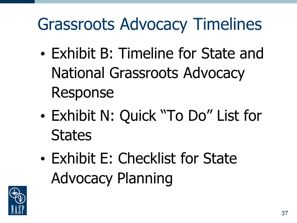 37 Grassroots Advocacy Timelines Exhibit B: Timeline for State and National Grassroots Advocacy Response Exhibit N: Quick To Do List for States Exhibit E: Checklist for State Advocacy Planning