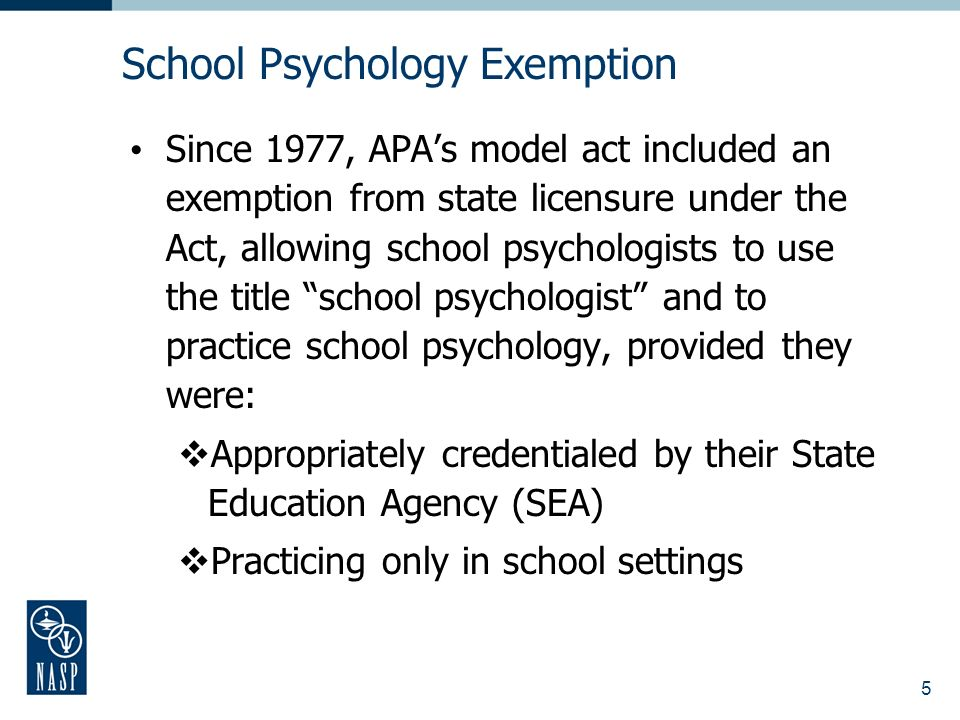 5 Since 1977, APAs model act included an exemption from state licensure under the Act, allowing school psychologists to use the title school psychologist and to practice school psychology, provided they were: Appropriately credentialed by their State Education Agency (SEA) Practicing only in school settings School Psychology Exemption