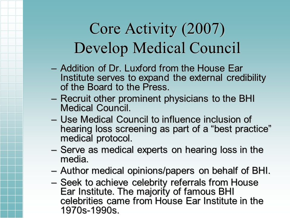 Core Activity (2007) Develop Medical Council –Addition of Dr.