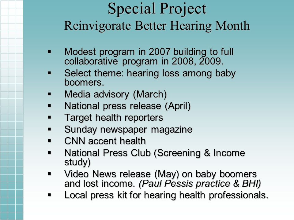 Special Project Reinvigorate Better Hearing Month Modest program in 2007 building to full collaborative program in 2008, 2009.