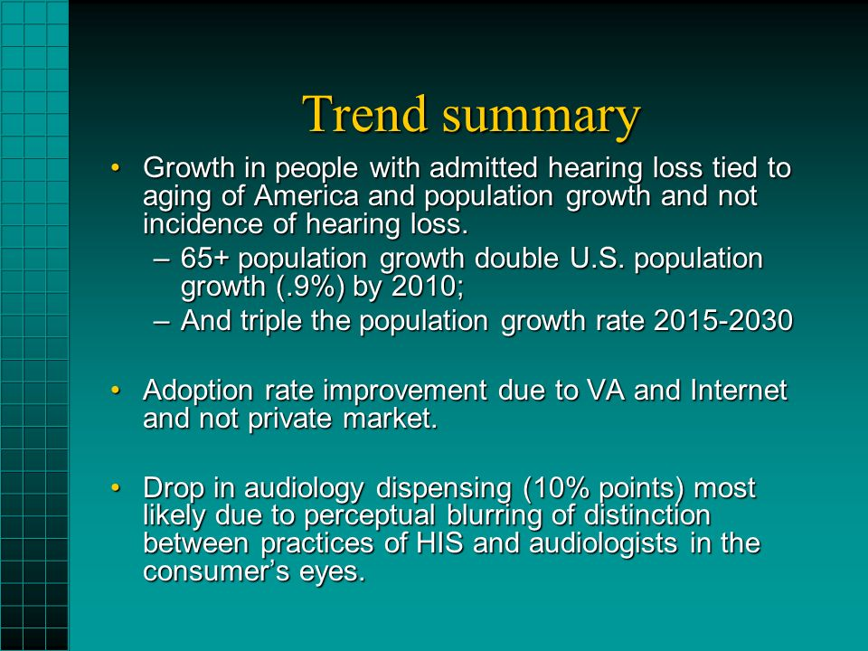 Trend summary Growth in people with admitted hearing loss tied to aging of America and population growth and not incidence of hearing loss.Growth in people with admitted hearing loss tied to aging of America and population growth and not incidence of hearing loss.