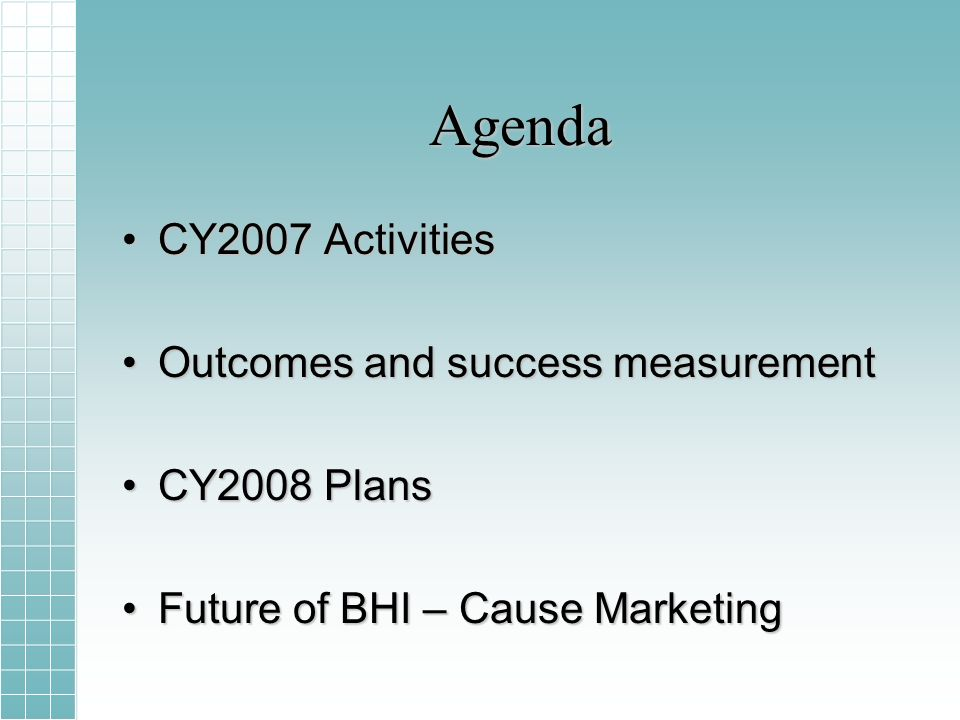 Agenda CY2007 ActivitiesCY2007 Activities Outcomes and success measurementOutcomes and success measurement CY2008 PlansCY2008 Plans Future of BHI – Cause MarketingFuture of BHI – Cause Marketing