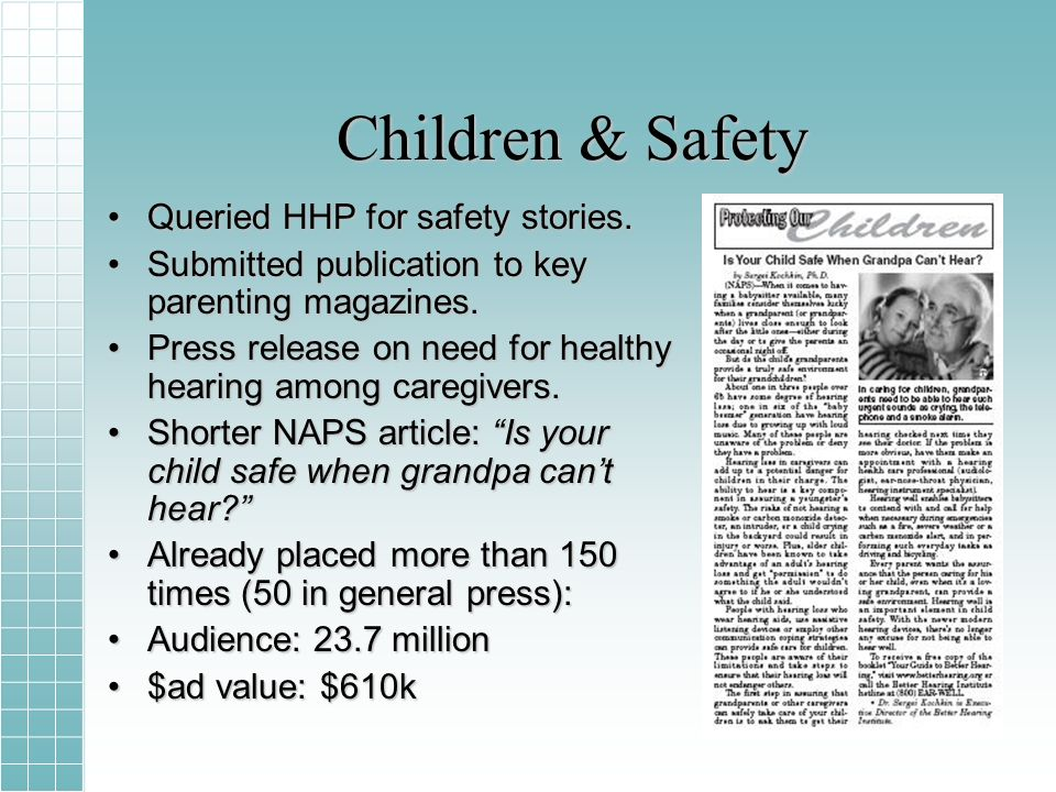 Children & Safety Queried HHP for safety stories.Queried HHP for safety stories.