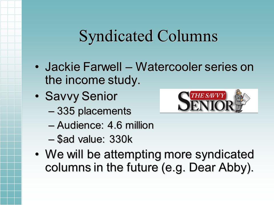 Syndicated Columns Jackie Farwell – Watercooler series on the income study.Jackie Farwell – Watercooler series on the income study.