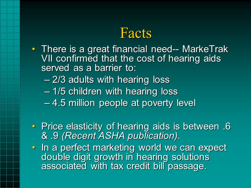 Facts There is a great financial need-- MarkeTrak VII confirmed that the cost of hearing aids served as a barrier to:There is a great financial need-- MarkeTrak VII confirmed that the cost of hearing aids served as a barrier to: –2/3 adults with hearing loss –1/5 children with hearing loss –4.5 million people at poverty level Price elasticity of hearing aids is between.6 &.9 (Recent ASHA publication).Price elasticity of hearing aids is between.6 &.9 (Recent ASHA publication).