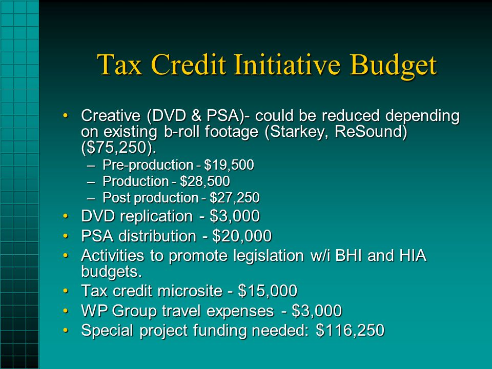 Tax Credit Initiative Budget Creative (DVD & PSA)- could be reduced depending on existing b-roll footage (Starkey, ReSound) ($75,250).Creative (DVD & PSA)- could be reduced depending on existing b-roll footage (Starkey, ReSound) ($75,250).