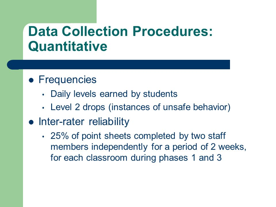 Data Collection Procedures: Quantitative Frequencies Daily levels earned by students Level 2 drops (instances of unsafe behavior) Inter-rater reliabil
