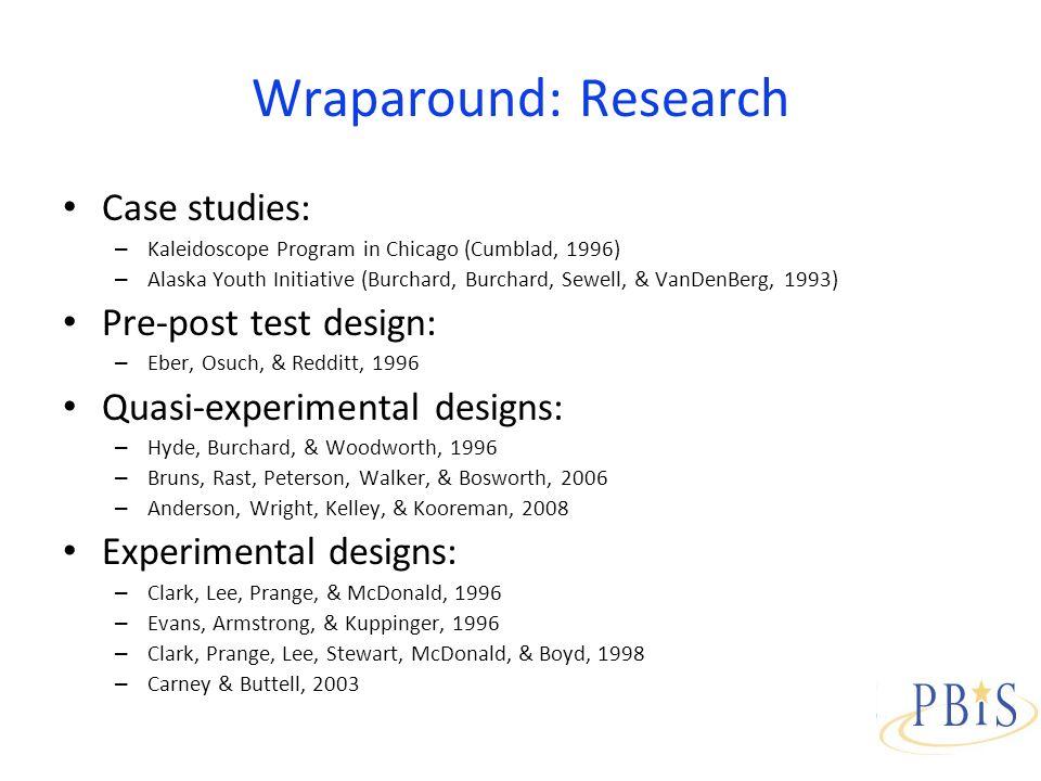 Wraparound: Research Case studies: – Kaleidoscope Program in Chicago (Cumblad, 1996) – Alaska Youth Initiative (Burchard, Burchard, Sewell, & VanDenBerg, 1993) Pre-post test design: – Eber, Osuch, & Redditt, 1996 Quasi-experimental designs: – Hyde, Burchard, & Woodworth, 1996 – Bruns, Rast, Peterson, Walker, & Bosworth, 2006 – Anderson, Wright, Kelley, & Kooreman, 2008 Experimental designs: – Clark, Lee, Prange, & McDonald, 1996 – Evans, Armstrong, & Kuppinger, 1996 – Clark, Prange, Lee, Stewart, McDonald, & Boyd, 1998 – Carney & Buttell, 2003