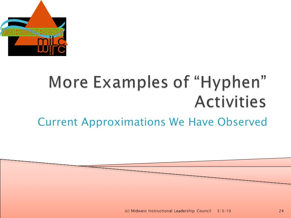 Current Approximations We Have Observed 3/3/10(c) Midwest Instructional Leadership Council24