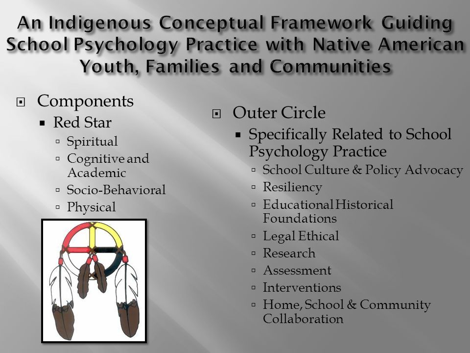 Components Red Star Spiritual Cognitive and Academic Socio-Behavioral Physical Outer Circle Specifically Related to School Psychology Practice School Culture & Policy Advocacy Resiliency Educational Historical Foundations Legal Ethical Research Assessment Interventions Home, School & Community Collaboration