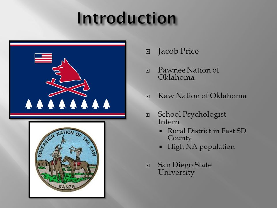 Jacob Price Pawnee Nation of Oklahoma Kaw Nation of Oklahoma School Psychologist Intern Rural District in East SD County High NA population San Diego State University