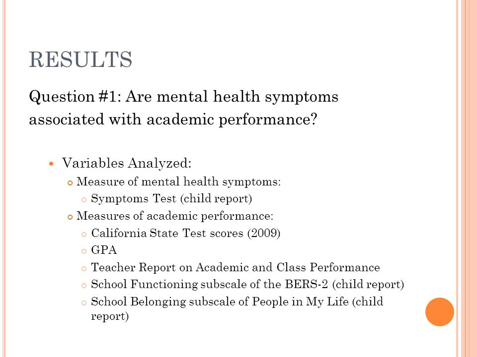 Question #1: Are mental health symptoms associated with academic performance.