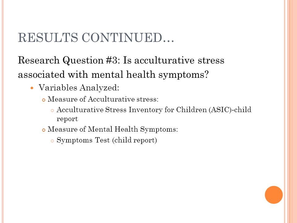 RESULTS CONTINUED… Research Question #3: Is acculturative stress associated with mental health symptoms.