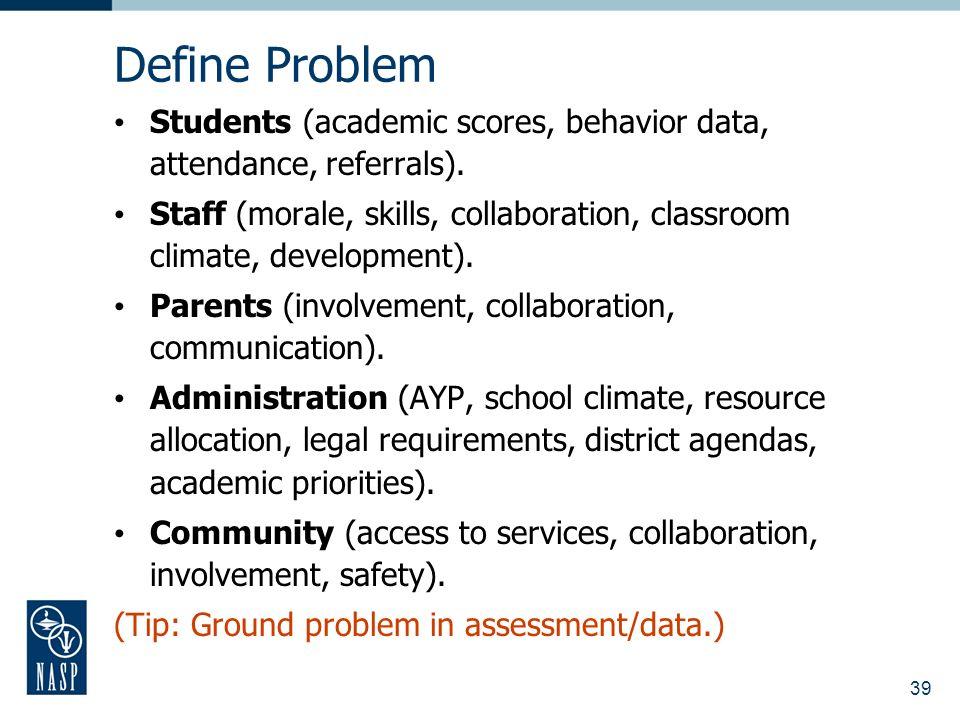 39 Define Problem Students (academic scores, behavior data, attendance, referrals). Staff (morale, skills, collaboration, classroom climate, developme