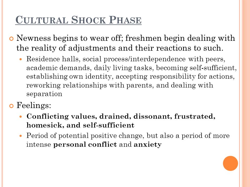 C ULTURAL S HOCK P HASE Newness begins to wear off; freshmen begin dealing with the reality of adjustments and their reactions to such.