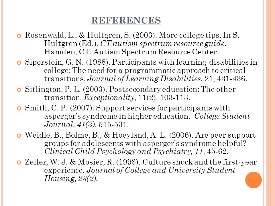 REFERENCES Rosenwald, L., & Hultgren, S. (2003). More college tips.