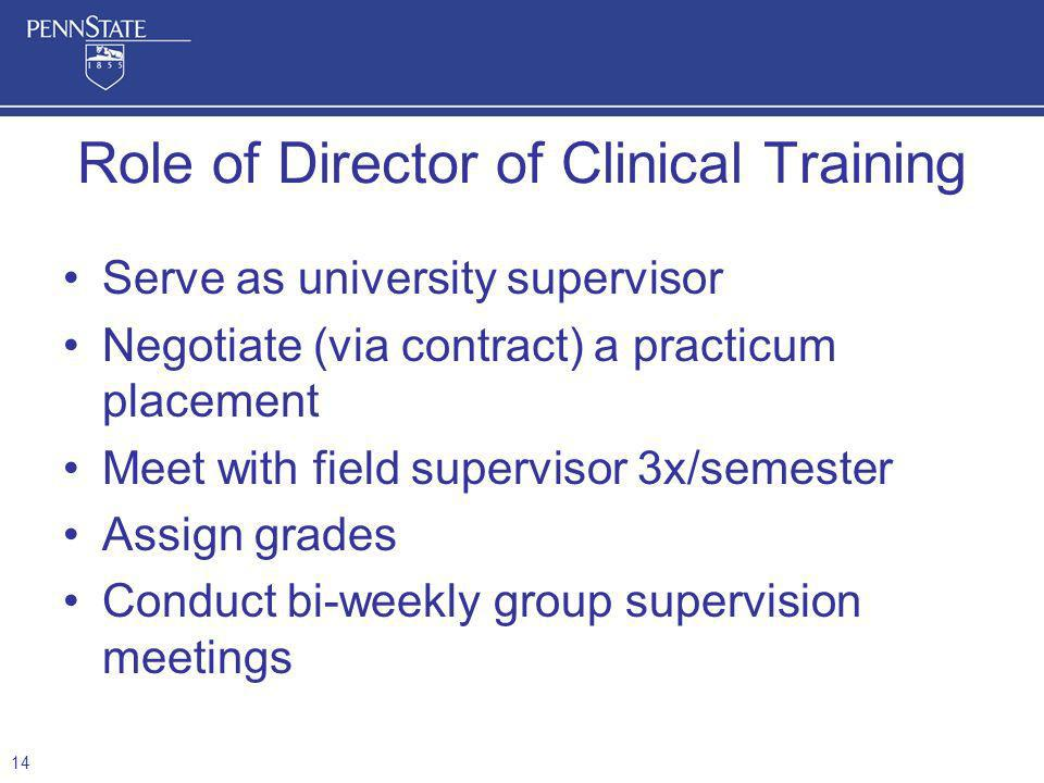 Serve as university supervisor Negotiate (via contract) a practicum placement Meet with field supervisor 3x/semester Assign grades Conduct bi-weekly group supervision meetings Role of Director of Clinical Training 14