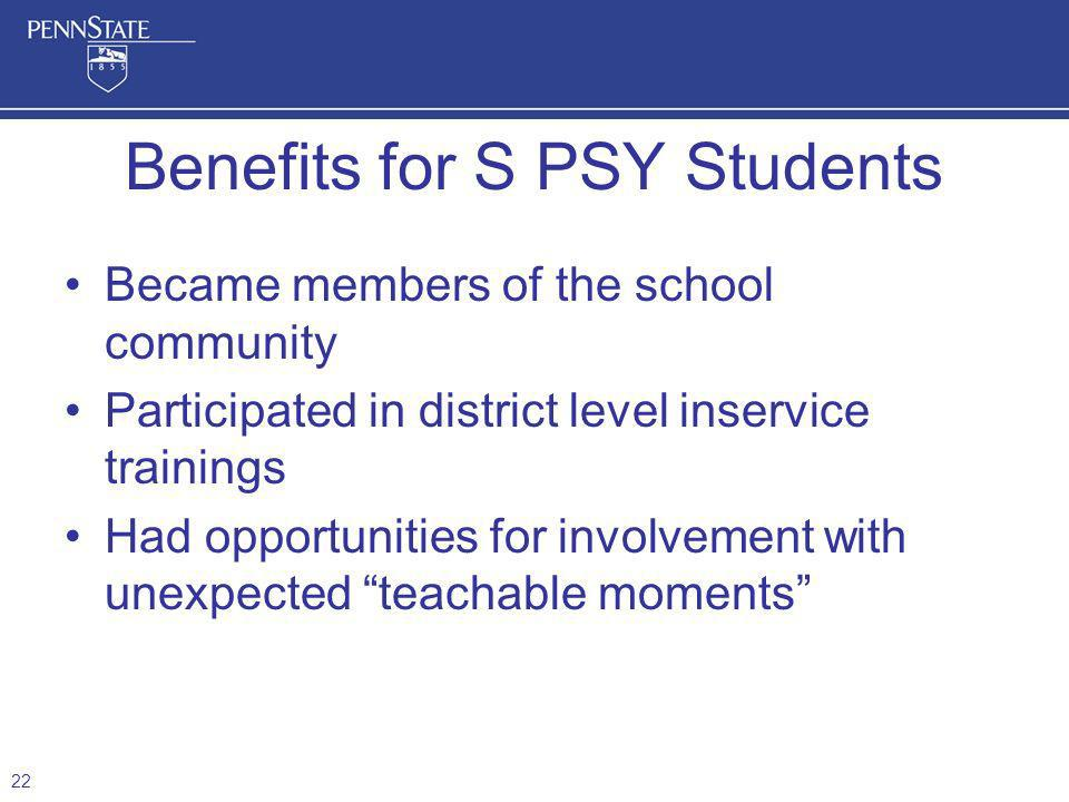 Became members of the school community Participated in district level inservice trainings Had opportunities for involvement with unexpected teachable moments Benefits for S PSY Students 22